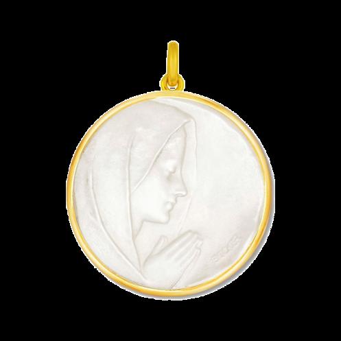 Medaille bapteme Vierge prière nacre