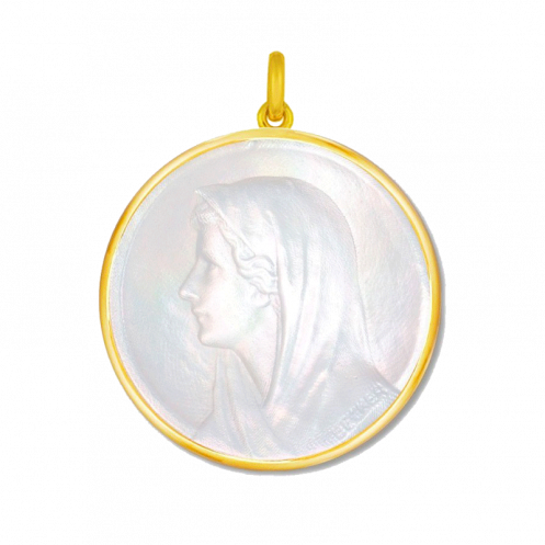 Medaille bapteme Vierge au voile nacre