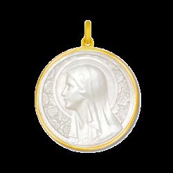 Medaille bapteme Vierge à l'Eglantier nacre