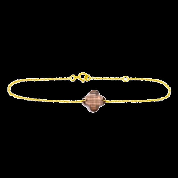 Bracelet Trèfle Quartz Fumé Marron