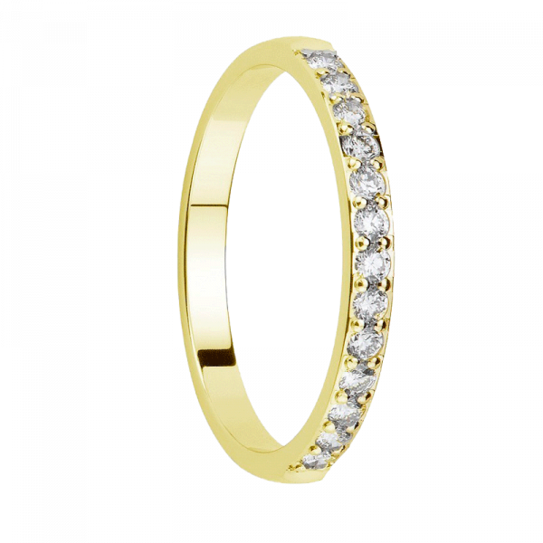 Alliance diamants sertis griffes or jaune Demi Tour 0,26 carats