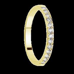 Alliance diamants sertis griffes or jaune Demi Tour 0,5 carats