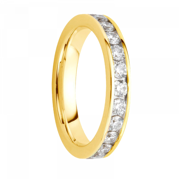 Alliance diamants sertis rails or jaune Demi Tour 0,24 carats