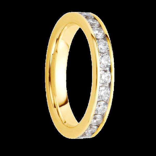 Alliance diamants sertis rails or jaune Demi Tour 0,49 carats