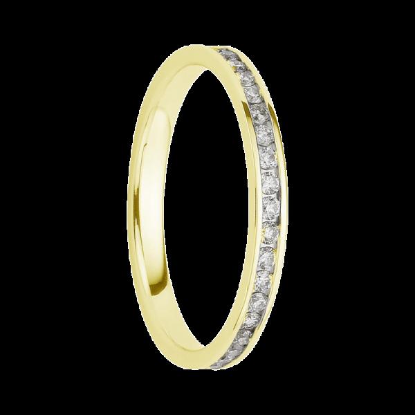 Alliance diamants sertis rails or jaune tour complet 0,45 carats