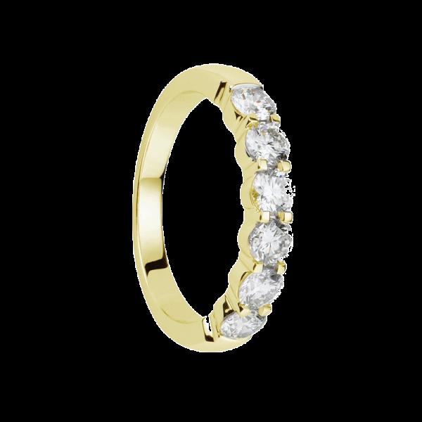 Alliance diamants or jaune griffes demi tour 0,36 carats