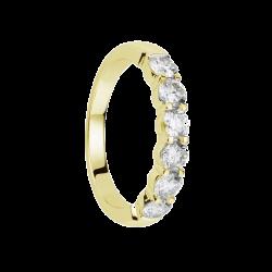Alliance diamants griffes or gris demi tour 1,1 carats