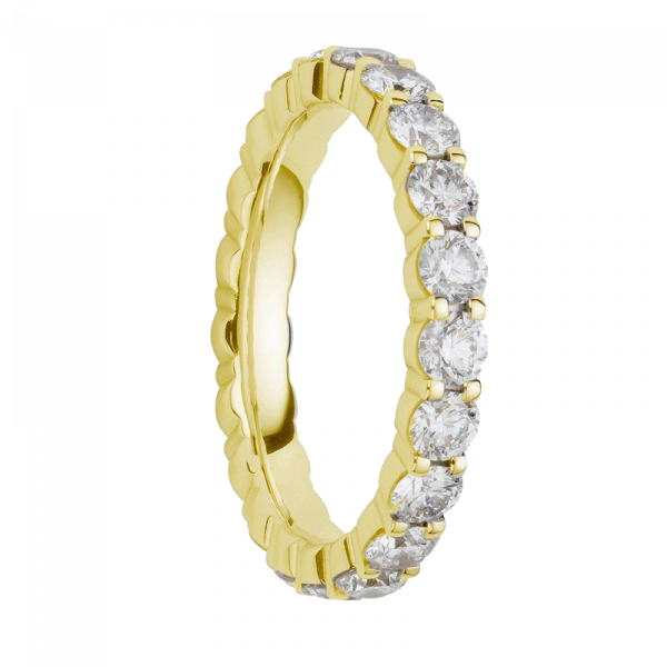 Alliance diamants griffes or jaune tour complet 2,2 carats