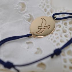 Bracelet sur cordon bleu Colombe