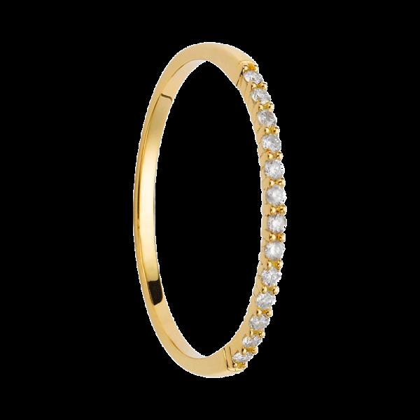 Alliance coup de coeur diamants or jaune demi tour 0,104 carats