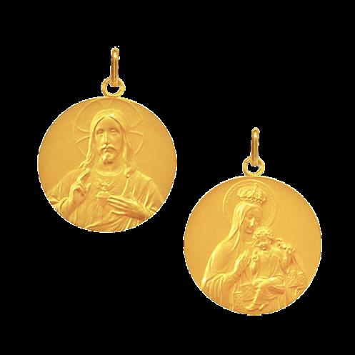 Medaille bapteme Scapulaire Sacré Coeur et Vierge Couronnée