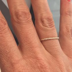 Alliance coup de coeur diamants or rose demi tour 0,104 carats