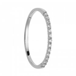 Alliance coup de coeur diamants or gris palladié demi tour 0,104 carats
