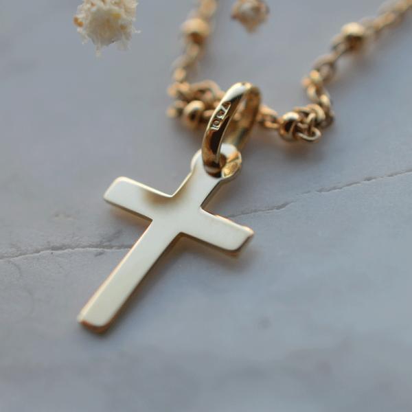 croix de bapteme Golgotha Jaune