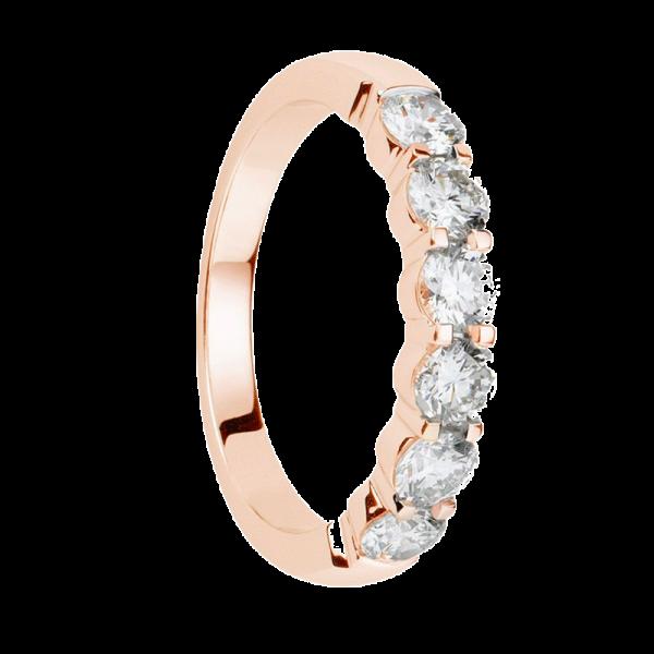 Alliance diamants griffes or rose demi tour 0,63 carats