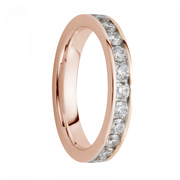 Alliance diamants sertis rails or rose tour complet 0,45 carats