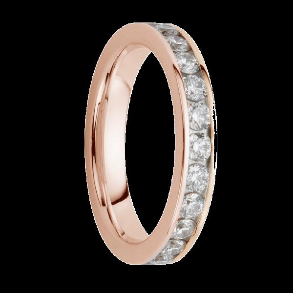 Alliance diamants sertis rails or rose Demi Tour 0,78 carats