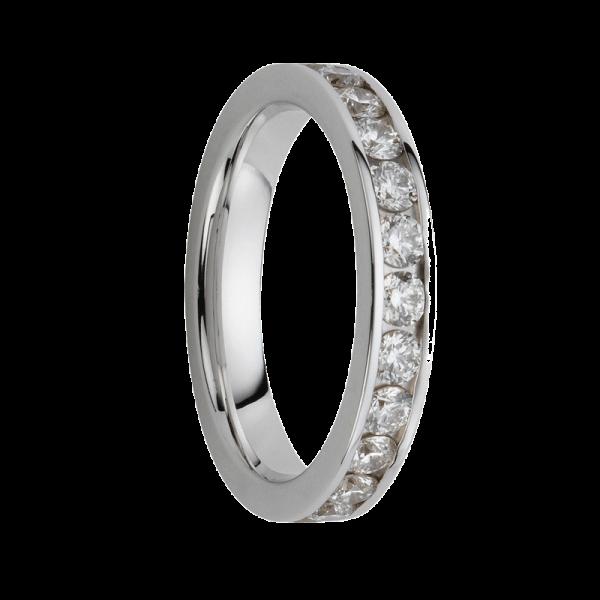 Alliance diamants sertis rails or gris palladié Demi Tour 0,24 carats