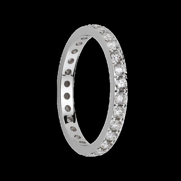 Alliance diamants sertis griffes or gris palladié Tour Complet 2,1mm