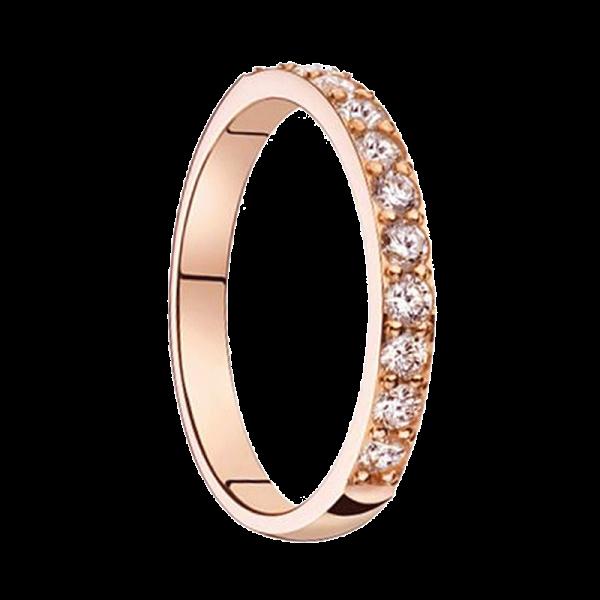 Alliance diamants sertis griffes or rose Demi Tour 0,44 carats