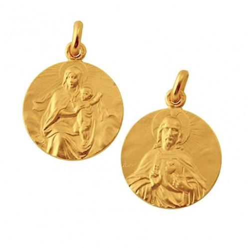 Medaille bapteme Scapulaire Sacré Coeur et Vierge au Manteau