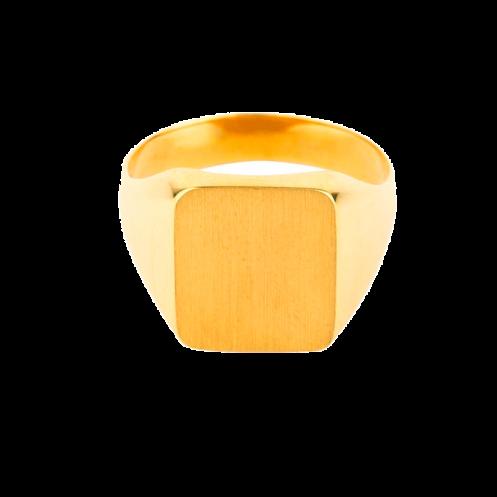 Chevalière sur or carrée angle ronds 12x10