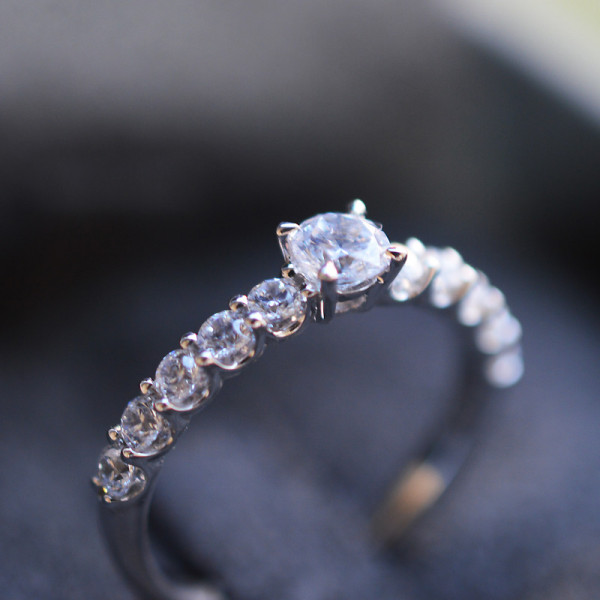Solitaire Colombia diamant or blanc 0,30 carats