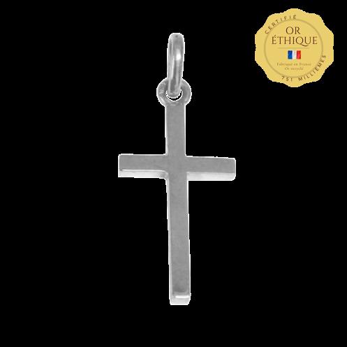 Croix de bapteme Golgotha or blanc