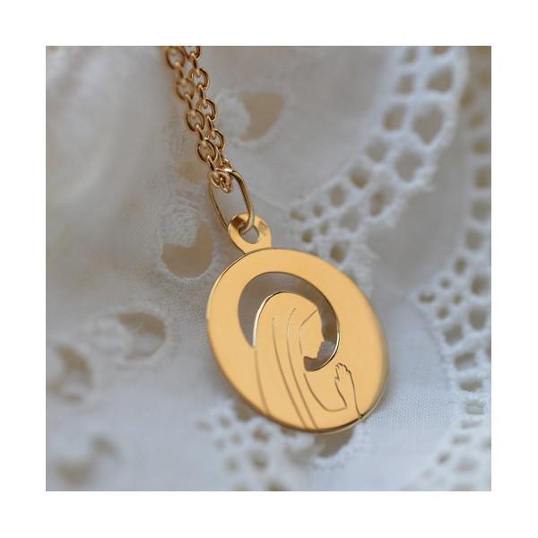 Medaille bapteme de la vierge Marie : Vierge ajourée - Laudate