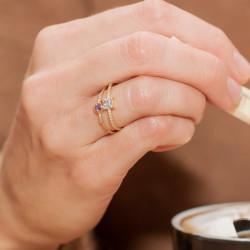 """Bague """"Eclats de vie"""" diamants et pierre grand carré 0,70 carats"""
