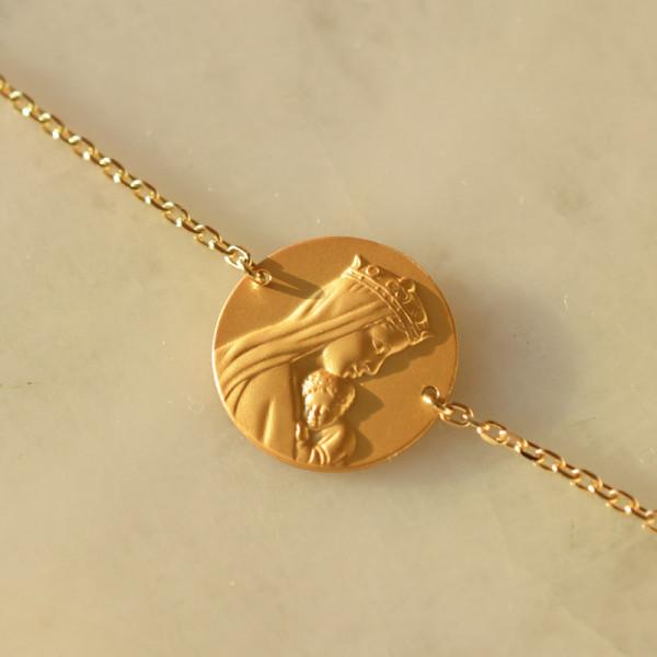 Bracelet médaille Portrait ND de la sagesse 18 carats 3.65gr