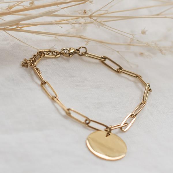 Bracelet maille trombone jeton classique Maman Vogue x Laudate
