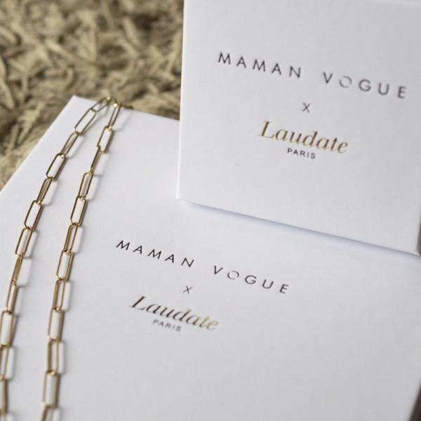 Collier perlé jeton soleil Maman Vogue x Laudate