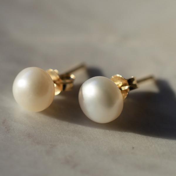 Boucles d'oreilles Grande perle or jaune 18 cts