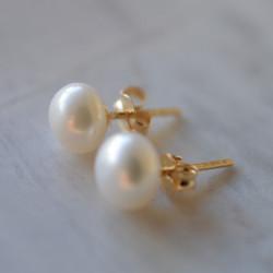 Boucles d'oreilles Petite perle or jaune 18 cts