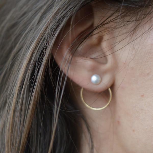 Boucles d'oreilles créole perlée or jaune 18 cts
