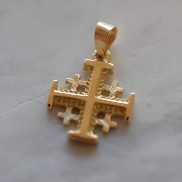 Croix Jérusalem or jaune 18 cts