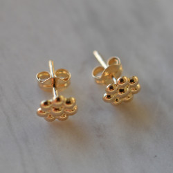 Boucles d'oreilles marguerite or jaune 18cts