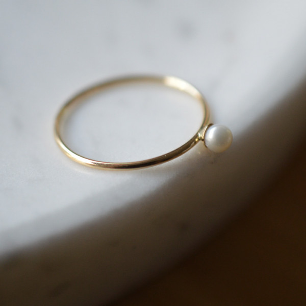 Bague perle or jaune 18 cts