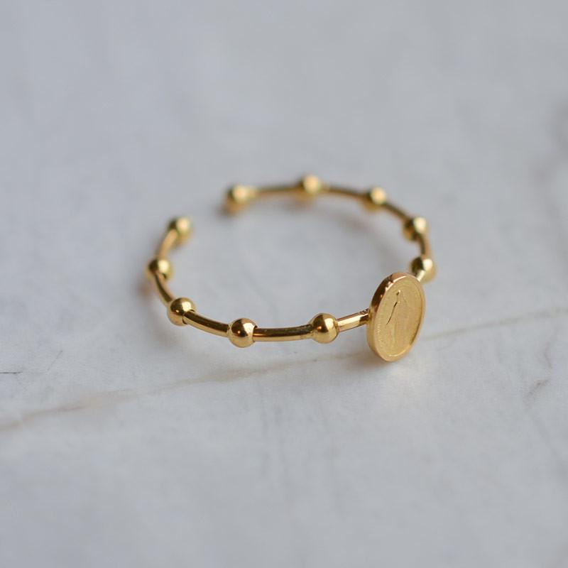 Bague ouverte dizainier miraculeuse en or